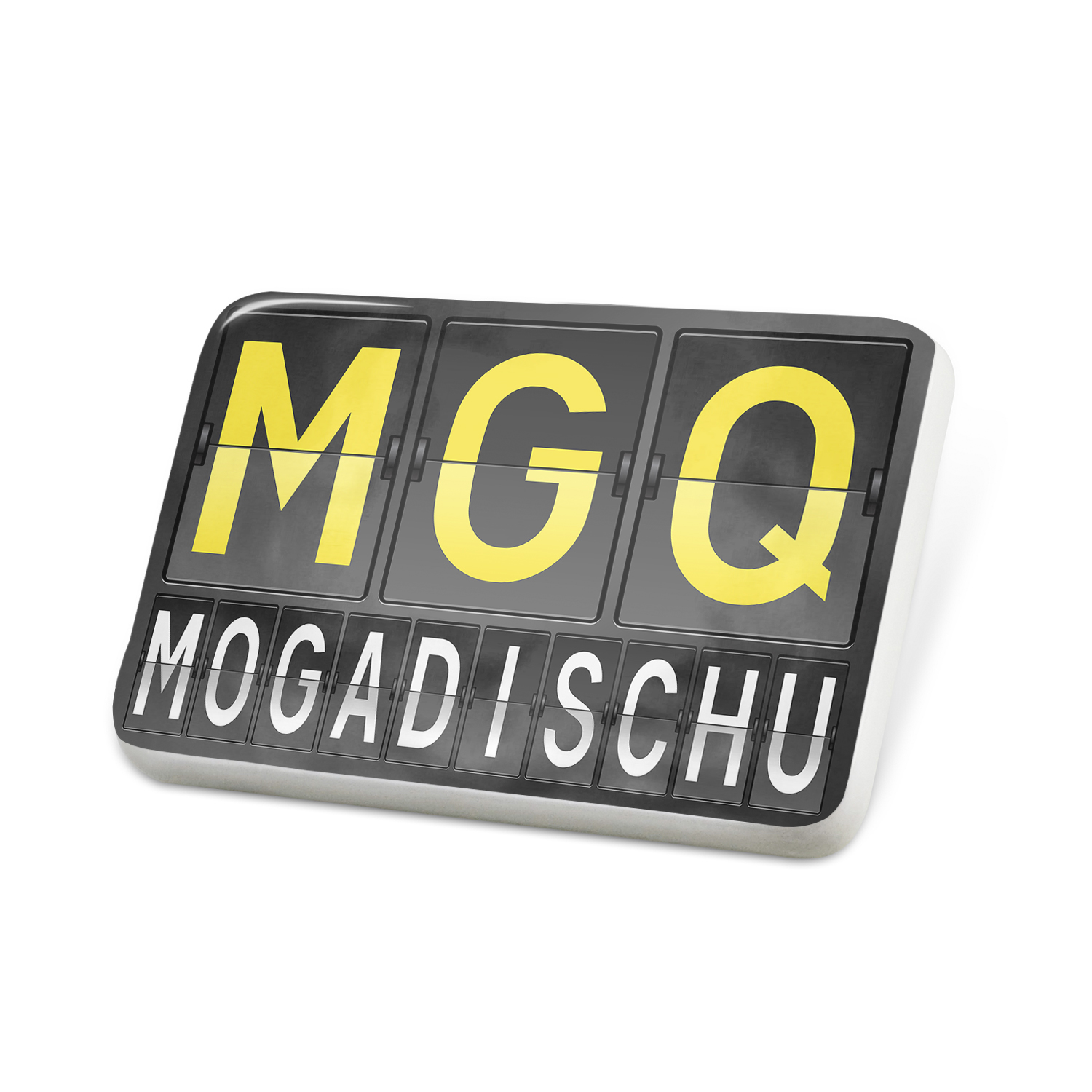 Porcelein Pin MGQ Airport Code for Mogadischu Lapel Badge – NEONBLOND