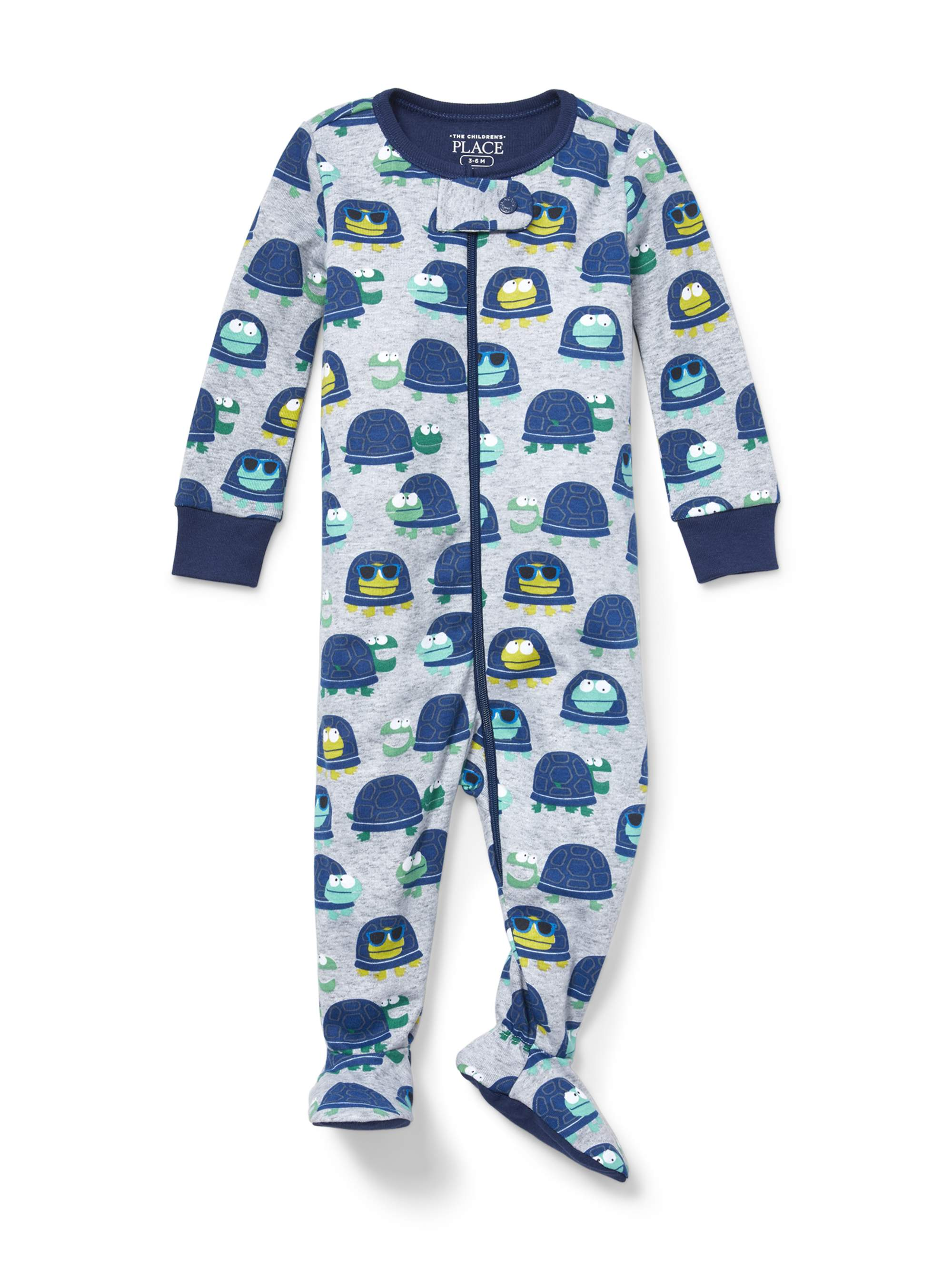 Baby And Toddler Boys Long Sleeve Turtle Snug-Fit Footed Stretchie (Baby and Toddler Boys)