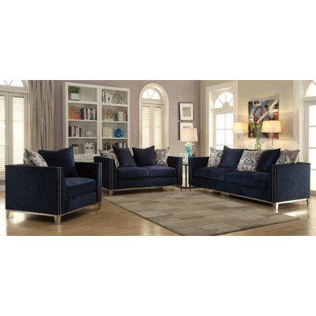 Navy Blue Fabric Living Room Sofa Set 3Pcs Acme Furniture 52830 Phaedra