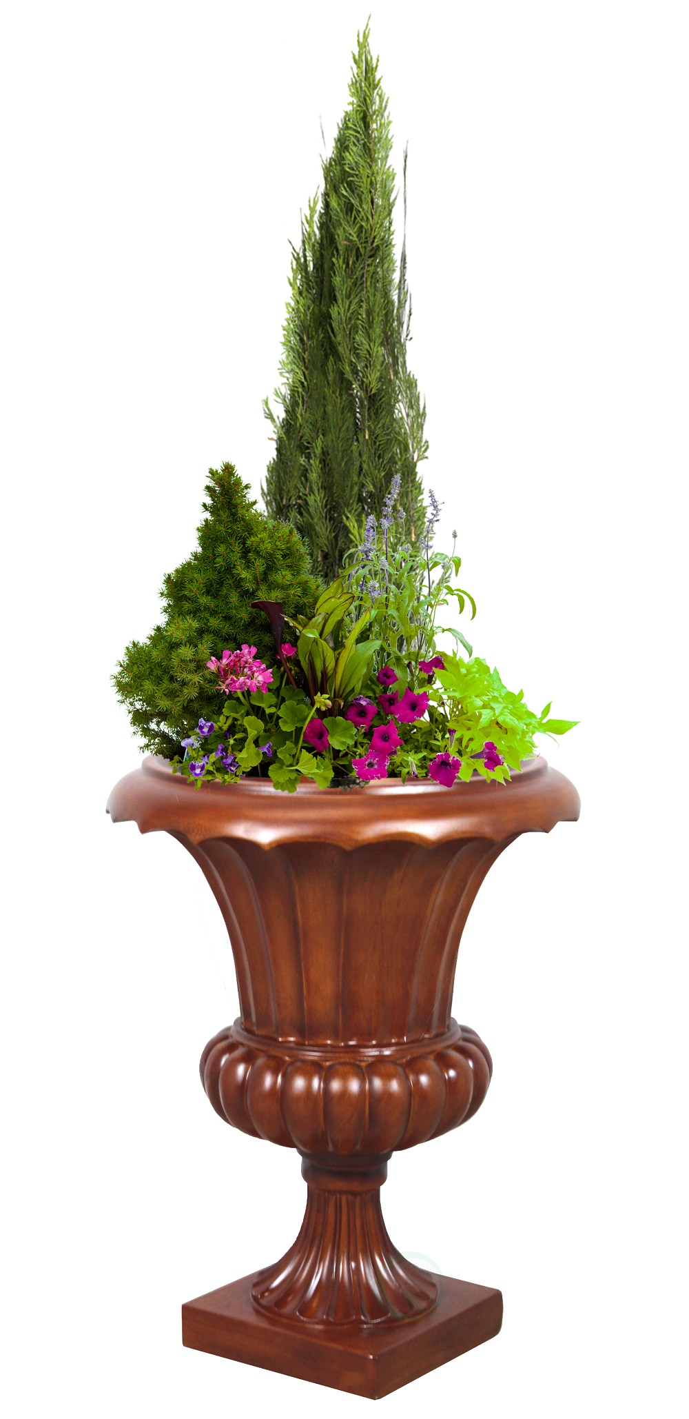 Corinthian Tuscany Urn Planter, Wood Color Finish, Indoor Outdoor Planter Urn 23 High by Quickway Imports Inc