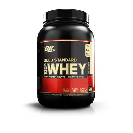 Optimum Nutrition Gold Standard 100% Whey Protein Powder, Vanilla Ice Cream, 24g Protein, 2 Lb