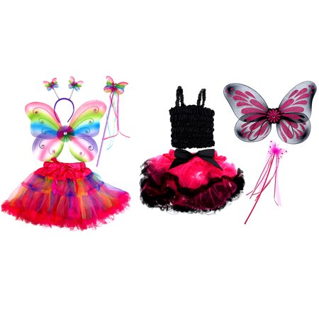 Black And Red Fairy Wings (Pretend Play Dress Up Mozlly Neon Rainbow Glittery Butterfly Fairy Tutu Costume (4pc Set) and Mozlly Black and Fuchsia Butterfly Fairy Tutu Costume (4pc)