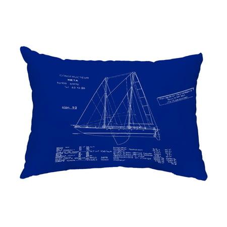 Sail Plan 14x20 inch Blue Print Blue Nautical Decorative Outdoor Pillow ()
