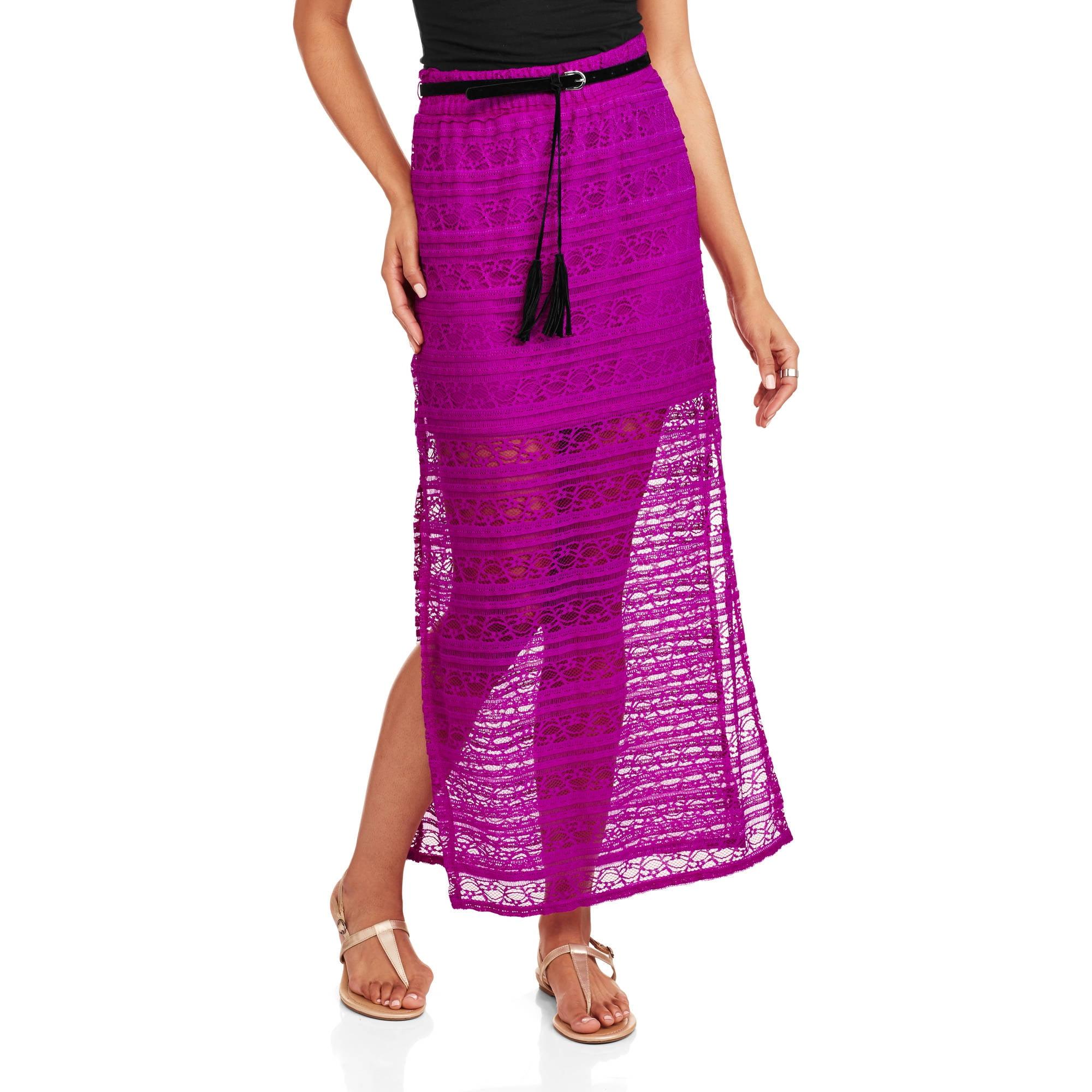 no boundaries juniors lace maxi skirt with belt walmart