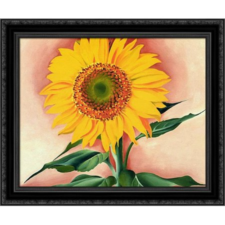 (A Sunflower from Maggie 24x20 Black Ornate Wood Framed Canvas Art by O'Keeffe, Georgia)