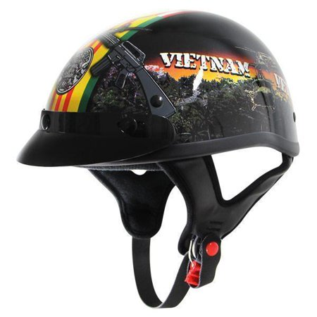 Outlaw Helmets Outlaw T70 Glossy Motorcycle Half Helmet with Vietnam-Veteran-of-America Graphics Black Small