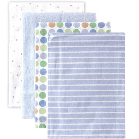 Luvable Friends Baby Boy and Girl Flannel Receiving Blanket, 4-Pack - Blue Dots Cotton Thermal Receiving Blanket