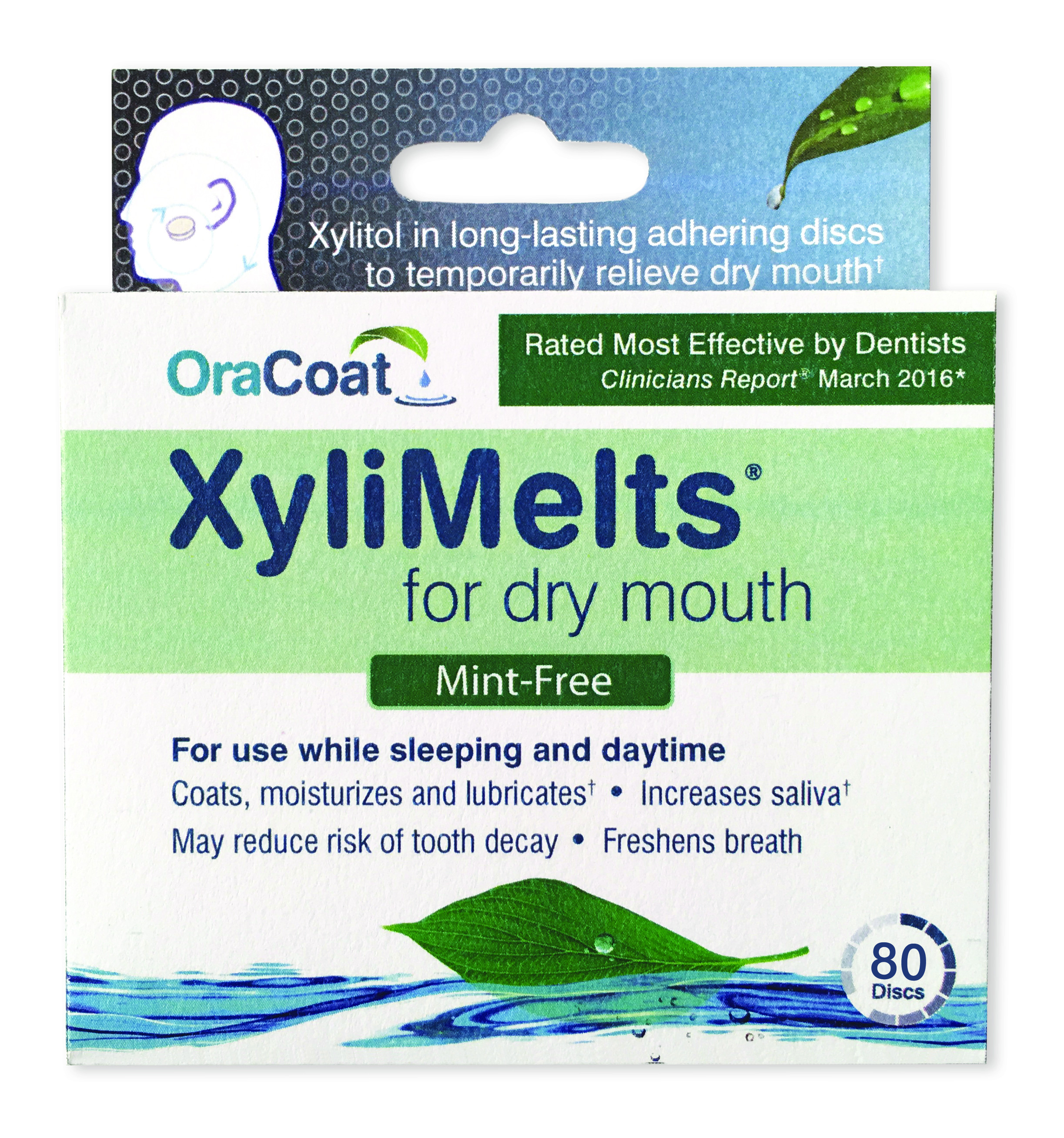 OraCoat XyliMelts for dry mouth, Mint Free, 80 ct Box