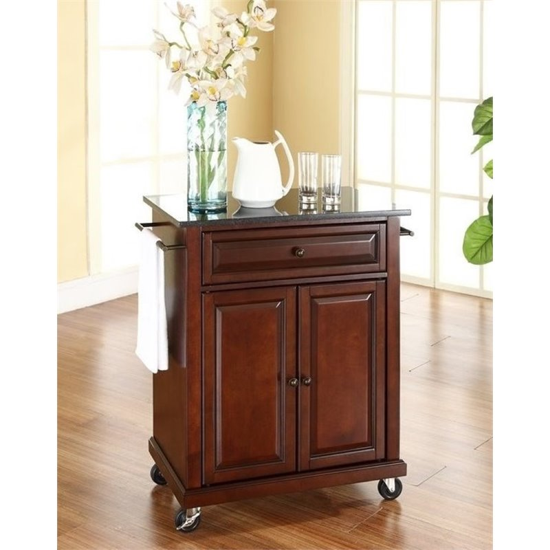 Bowery Hill Solid Black Granite Top Kitchen Cart in Mahogany