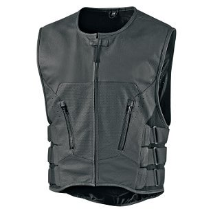 Icon Regulator D30 Stripped Mens Leather Vest Black