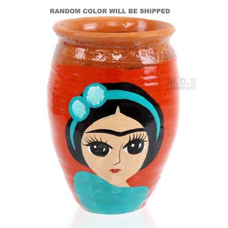 Frida Kahlo Flower Headband (Cantaritos de Barro Frida Kahlo Decorative Artisan Hand-Painted Assorted Traditional Tonola Jalisco Lead Free Mexican Clay Cups (Frida Cantarito with a)