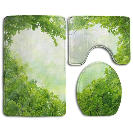 XDDJA Green Leaves 3 Piece Bathroom Rugs Set Bath Rug Contour Mat and Toilet Lid Cover - image 1 of 2