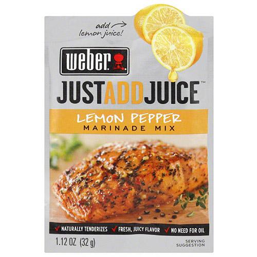 Weber Just Add Juice Lemon Pepper Marinade Mix, 1.12 oz, (Pack of 12)