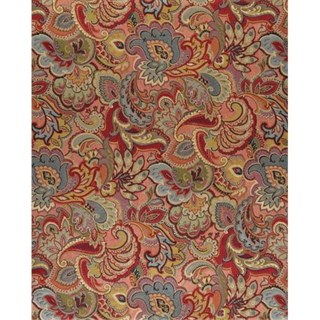 Designer Fabrics K0025B 54 in. Wide Green, Blue, Red And Gold, Abstract Floral Upholstery Fabric