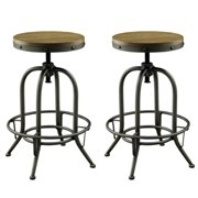 A Line Furniture Franklin Nostalgic Distressed Wood Seat Adjustable Stools (Set of 2) - 2-Stools