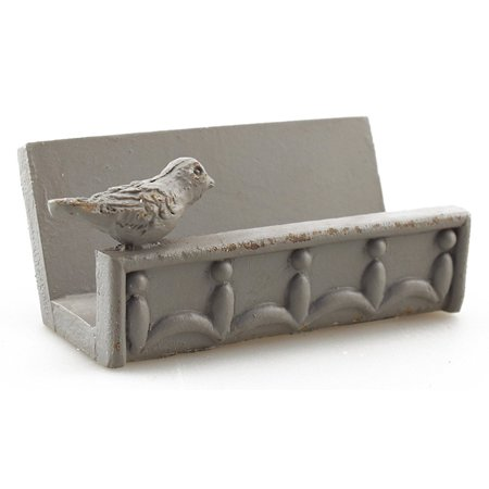Desk Business Card Holder Stand Bird Design Gray Leather Business Card Stand