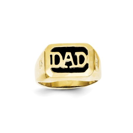 10k Yellow Gold Diamond and Black Onyx DAD Ring for Men Size 10 (H/SI2 ,0.02ct)