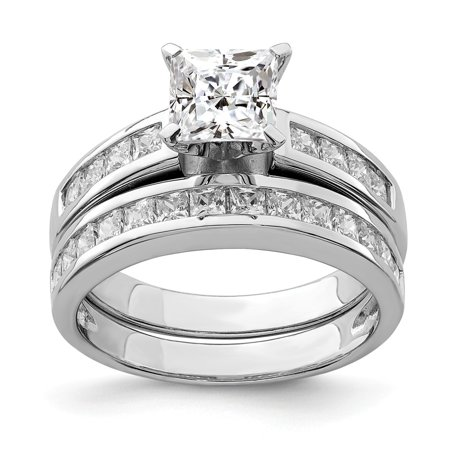Roy Rose Jewelry Sterling Silver 2-Piece CZ Wedding Set Ring