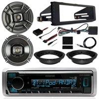 "Harley Motorcycle Stereo Kit - Kenwood Digital Media Radio, 2x Polk Audio 6.5"" Marine 300 Watt Speakers, Dash Radio Install Kit, Speaker Adapters, Thumb Control Interface, Antenna - 98-13 Touring"