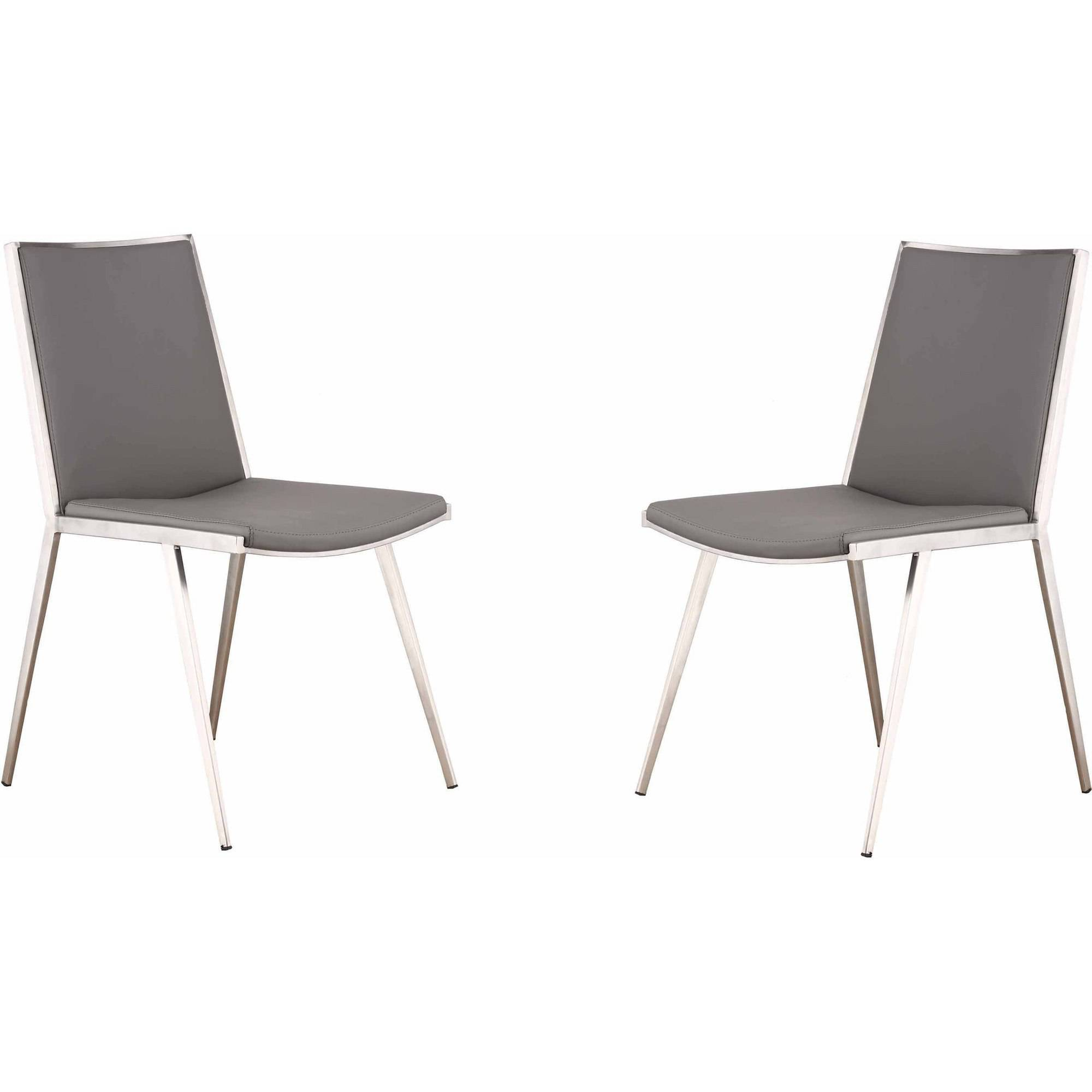 Armen Living Ibiza Brushed Stainless Steel Dining Chair, Gray, Set of 2 by Generic