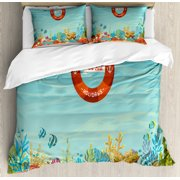 Marine King Size Duvet Cover Set, Lifebuoy over Coral Reef Sea Tropical Ocean Bubbles Beach Mystic Subaquatic, Decorative 3 Piece Bedding Set with 2 Pillow Shams, Pale Blue Orange, by Ambesonne