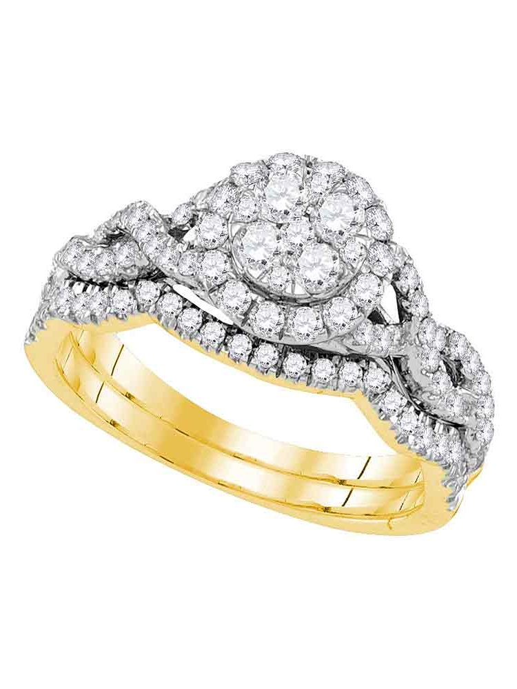 14kt Yellow Gold Womens Diamond Cluster Bridal Wedding Engagement Ring Band Set 7 8 Cttw by GND
