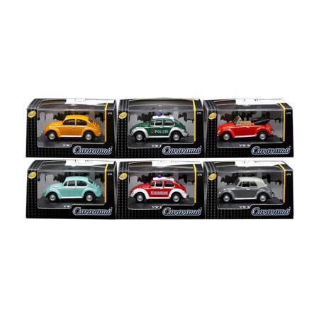 Volkswagen Beetle Set of 6 Cars in Display Cases 1/72 Diecast Model Cars by Cararama