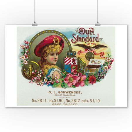 Our Standard Key West Brand Cigar Box Label (9x12 Art Print, Wall Decor Travel