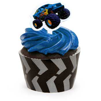 Monster Truck Cupcake Wraps With Picks - Party Supplies