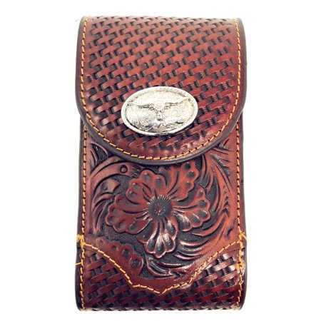 Western Cowboy Small Size Genuine Leather Longhhorn Smartphone Galaxy Iphone Holder Holster Cellphone Case