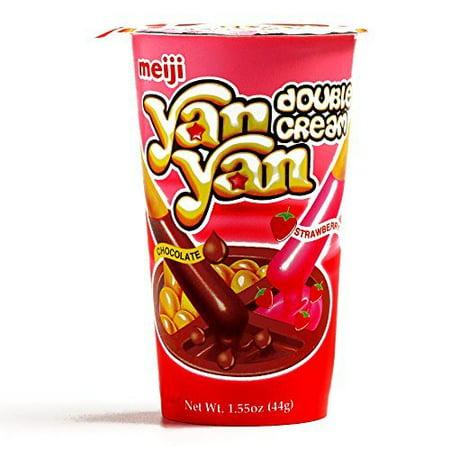 Meiji Yan Yan Chocolate and Strawberry Biscuits 1.55 oz each (3 Items Per Order) (Meiji Yan Yan Strawberry)