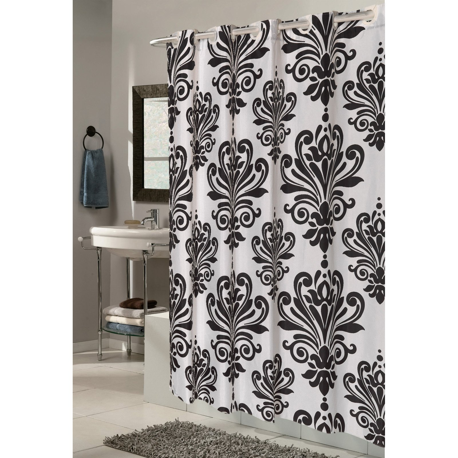 Ez On Beacon Hill Polyester Shower Curtain In Black On White