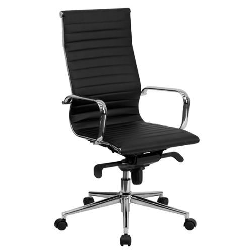 sleek office chairs. Sleek High-Back Black Ribbed Leather Executive Adjustable Swivel Office Chair Chairs