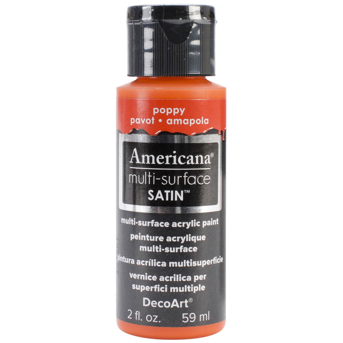 Americana Multi-Surface Satin Acrylic Paint 2oz-Poppy