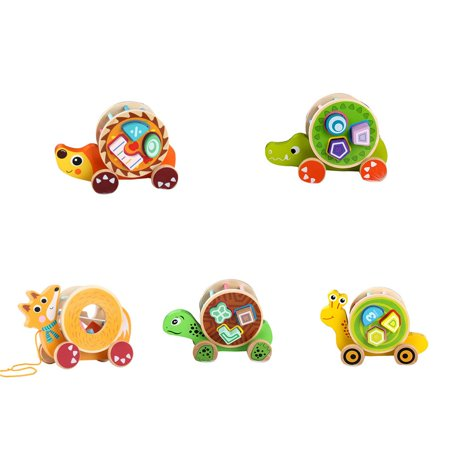 fashionhome Children Wooden Pull Toy Cartoon Animal Building Blocks Matching Early Educational Toys Kids Birthday Gifts - image 5 de 8