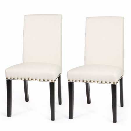 XtremepowerUS Sef of 2 Barton Luxury Stylish Nail Head Leather Dining Chair Extra Large, Cream ()