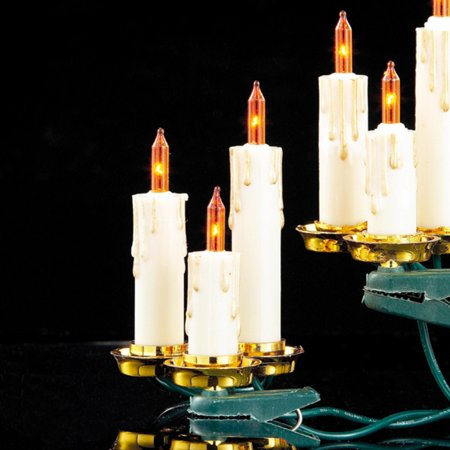 Set of 15 Dripping Gold Candle Clip-On Amber Christmas Lights - Green Wire