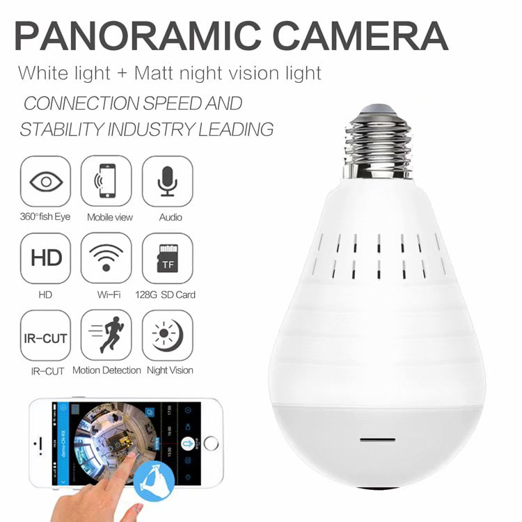 Motion Detection Light Bulb 360°Panoramic Surveillance IP Camera WiFi Wireless