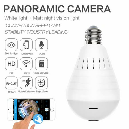 Light Bulb Camera WiFi Panoramic IP Security Surveillance System with IR Motion Detection, Night Vision, Two-Way Audio for Home,