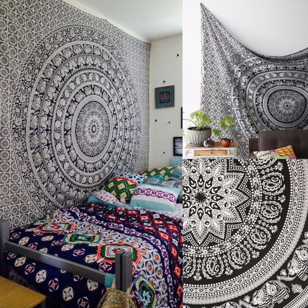 Twin Indian Mandala Wall Hanging Tapestry Bedspread Throw Mat Gypsy Home Decor Black... by