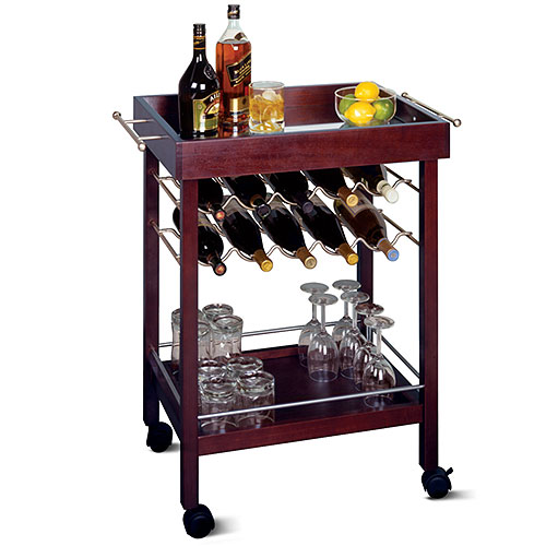 Winsome Wood Johnnie 10-Bottle Rolling Bar Cart with Shelf, Espresso
