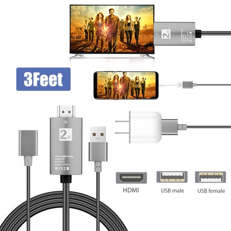 EEEkit 3 in 1 USB Female to HDMI Cable, Phone to HDMI TV Cable Mirror Mobile Phone Screen to TV HDTV Projector Support Android iphone Samsung to 1080P HDTV (Screen Mirroring Iphone To Samsung Tv Wireless)