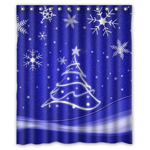 GreenDecor Christmas Snowflake Waterproof Shower Curtain Set with Hooks Bathroom Accessories Size 60x72 inches