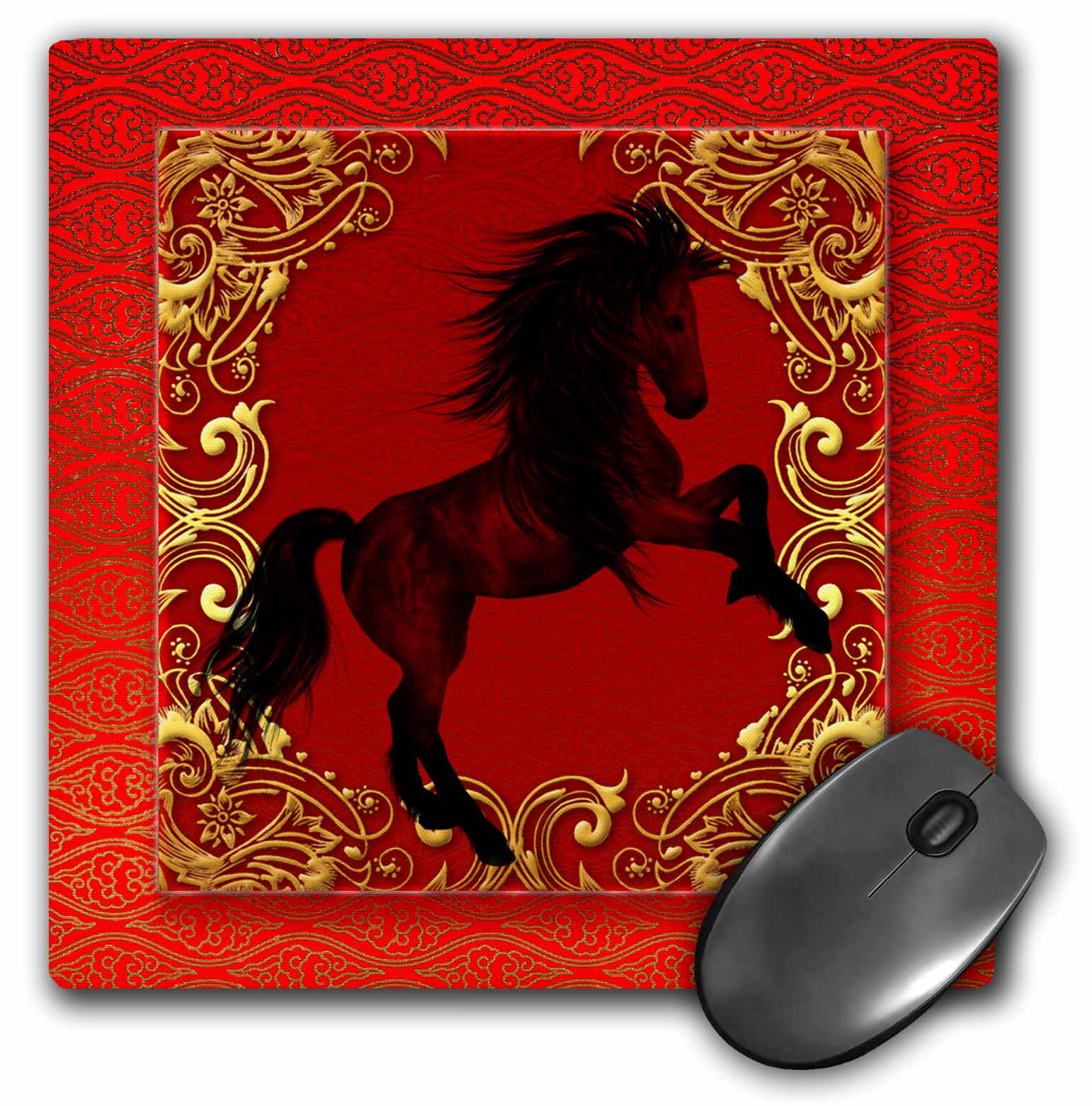 3dRose Chinese Zodiac Year of the Horse Chinese New Year Red, Gold and Black , Mouse Pad, 8 by 8 inches