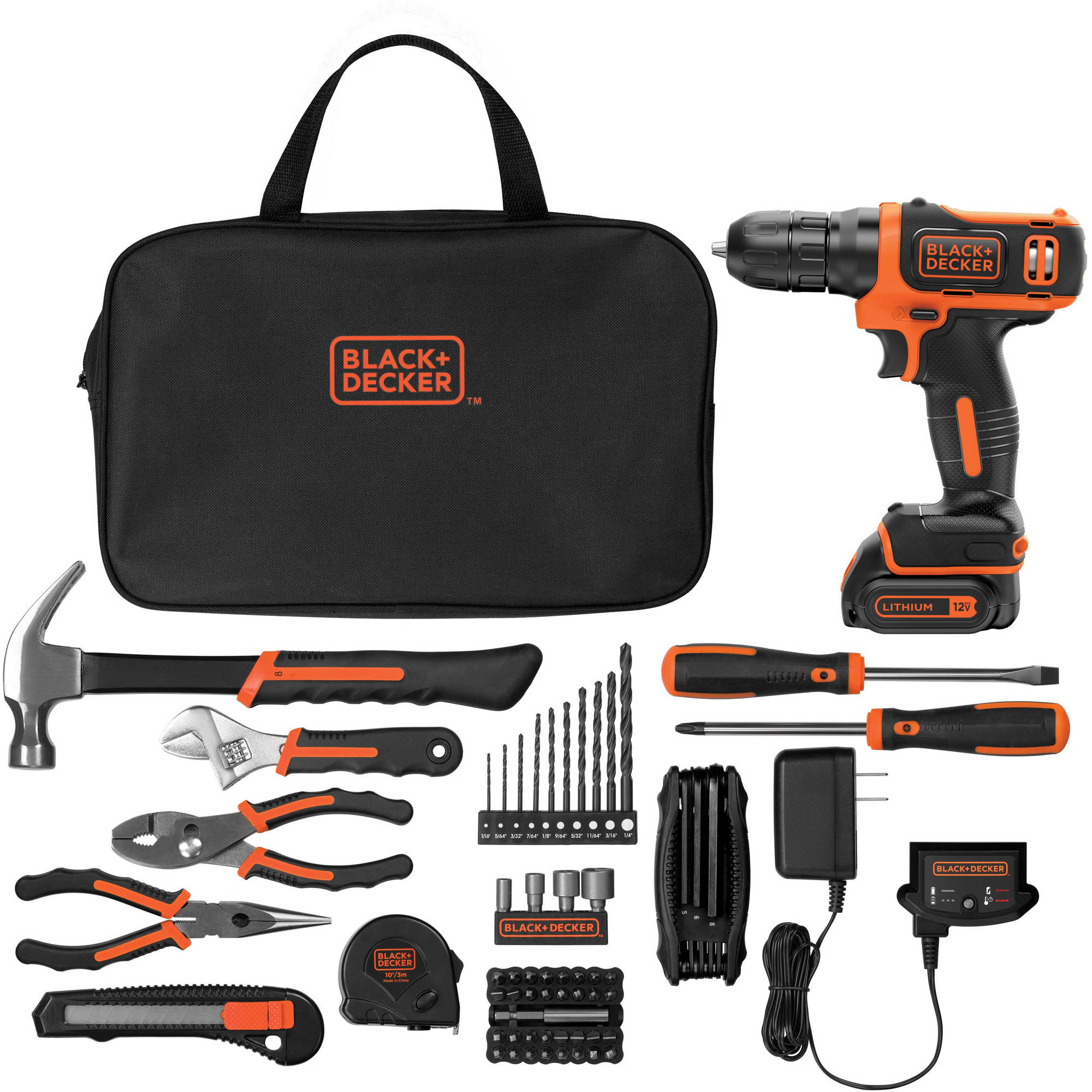 BLACK+DECKER 12-Volt MAX Lithium Ion Cordless Drill with 64-Piece Project Kit
