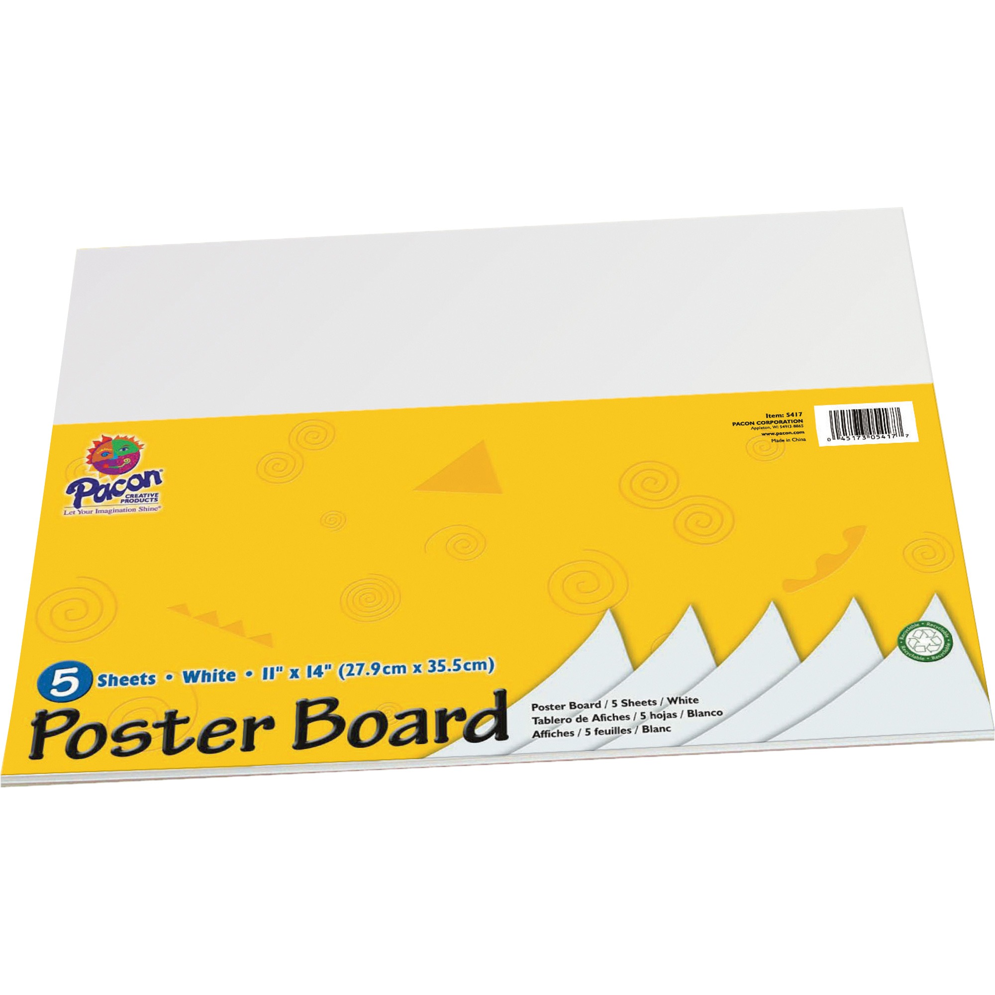 "(2 Pack) UCreate Poster Board, 11"" x 14"", White Poster Paper, 5-Sheets"
