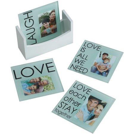 Melannco Laugh Love Sentiment Photo Coasters, Set of 4 by
