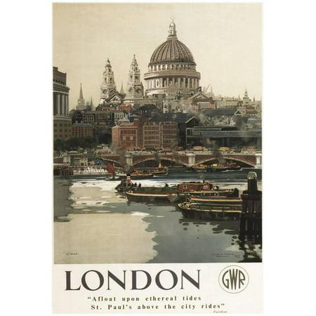 London, England - Great Western Railway St. Paul's Travel Poster - - London England Halloween