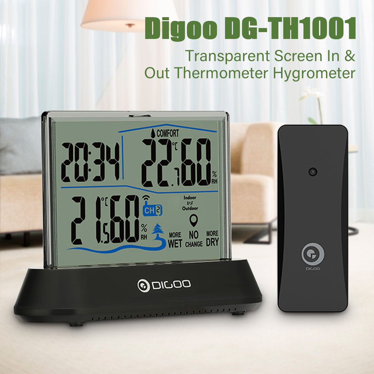 Digoo Transparent LCD Hygrometer Thermometer Weather Station Indoor Outdoor with Sensor Desk Clock,Temperature Humidity Trend Indication Display Monitor