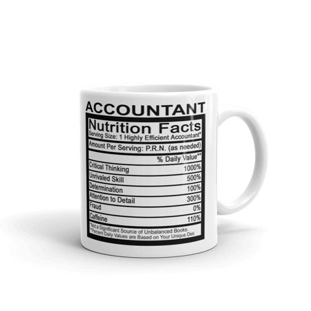 Accountant Nutrition Facts CPA Coffee Tea Ceramic Mug Office Work Cup Gift 11oz